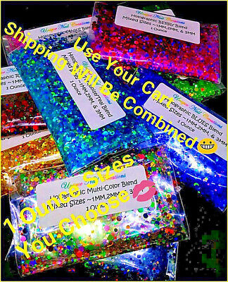Bulk 1 OZ Holographic~DOT Shape Glitter~Multi-Sizes~U CHOOSE Color~ USA