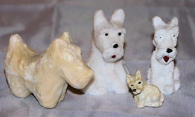 Vintage Mixed Lot of White Terrier Dog Figurines Soap Composition Porcelain OLD!