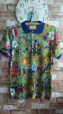 c90d429047b8 GUCCI MEN POLO T-shirt New Classic Floral Size XL Made in Italy ...