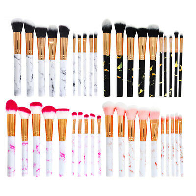 10PCS Marbling Makeup Brush Set Kit Foundation Kabuki Eyeshadow Face Blush Tool