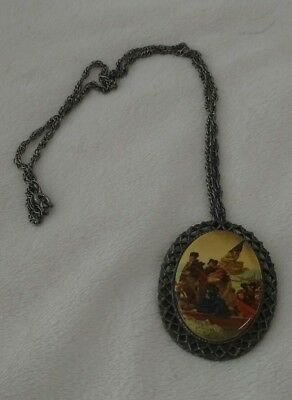 "Vintage ""Washington Crossing the Delaware"" Porcelain  Pendant/ Pin Necklace"