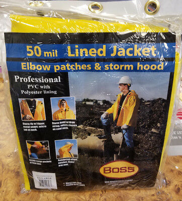 BOSS 50 Mil Lined Rain Jacket- Elbow Patches and Storm Hood Size XXL #9B-D0025