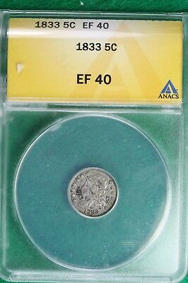 1833 Capped Bust Half Dime ANACS XF40 B10244