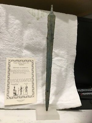 Roman Bronze Spearpoint 100 Bc With Lucite Stand And Coa