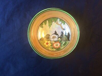Vintage Noritake Hand Painted China Lusterware  3 Footed Bowl & Under-Plate