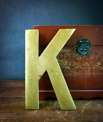 """Vintage """"K"""" Architectural Salvage 10"""" Solid Brass Sign Letter - Large & Heavy!"""