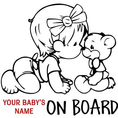BABY ON BOARD lovely car sticker safe sign decal custom made with name