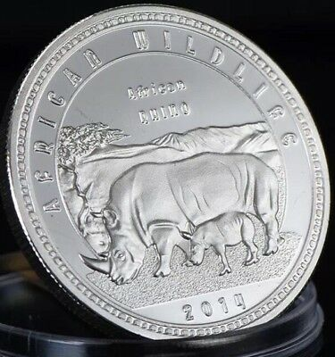 African Zambia 2014 Wildlife Coin RHINO Capsule Medallion Silver Plated