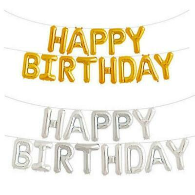 New Self Inflate Happy Birthday Foil Letter Balloon Banner Bunting Party Deco
