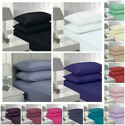 New Percale Luxury Bedding Range Non Iron Fitted Sheets Pillow Cases