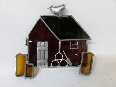 Stained Glass Country Barn House Ruby Red White Bird Yellow Black Rare