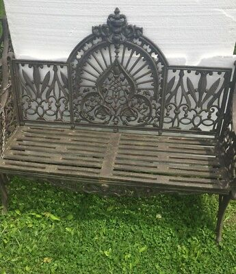 Pr. Of Fancy Cast Iron Crown Royal Victorian Style Garden Benches