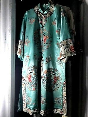 Great Antique Chinese Sea Wave Silk Satin Embroidered Kimono Robe Quing Dynasty
