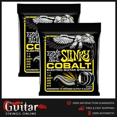 2 x Ernie Ball 2727 Cobalt Beefy Slinky Electric Guitar Strings 11-54 New