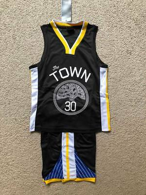 Stephen Curry #30 Golden State Warriors Youth Kids Basketball Jersey Set Black