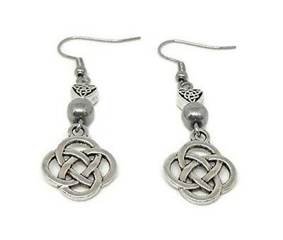 Earrings with Eternity Knot, Celtic Heart Beads and Hematite - Celtic Jewelry