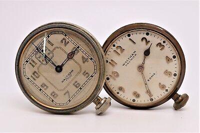 Lot of 2 Antique Waltham 8 Days Brass Car Clocks 1920's