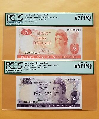 $2-$5 <1977-81> New Zealand-Reserve Bank [Replacement Note] PCGS 66-67