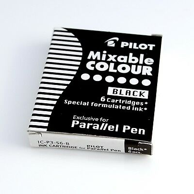 Pilot Parallel Black Ink Cartridges Refills IC-P3-S6-B NEW for Calligraphy Pen