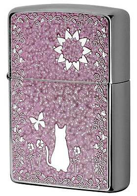 Zippo Cute Cat Flower Butterfly Pink Both Sides Metal Plate Japan Limited F/S