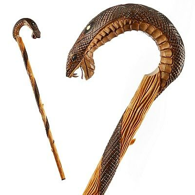 Hand Carved Unique Walking Stick Cane From Oak - Quality Crook Handle Made in EU