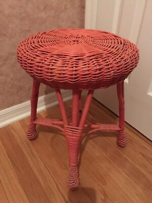 Vintage Round Wicker Farm Stool