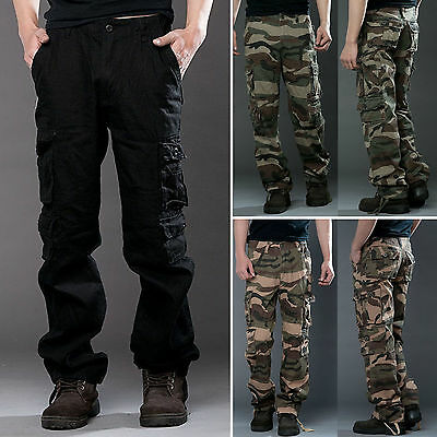 Mens Camo Cargo Pants Tactical Combat Military Army Work Cotton Trousers Slacks