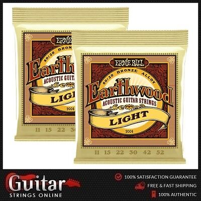 2 x Ernie Ball 2004 Earthwood 80/20 Bronze Light Acoustic Guitar Strings 11-52