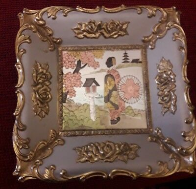 Japanese Dish with Music Incorporated by Rope. Sakura Vintage