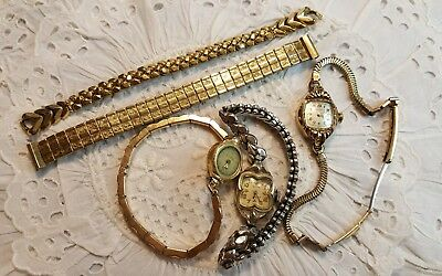 Vintage Antique Ladies Wrist Watch Lot Gold Filled Art Deco Gemex Elgin Bulova