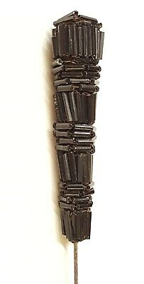 """Antique Victorian Large Black Jet Beaded Mourning Hat Pin 8-1/2"""" Long Fabulous"""