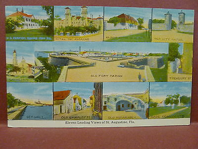 Old Postcard Eleven Leading Views of Augustine, FL