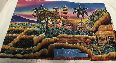 Picture batik paddy fields temples mountains