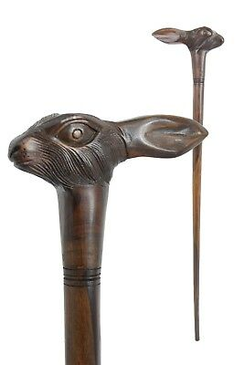 HARE rabbit wooden walking stick / cane - Hand carved from hardwood - BOXED item