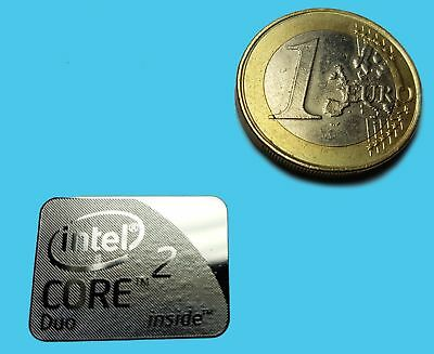 INTEL CORE 2 DUO  METALISSED CHROME EFFECT STICKER LOGO AUFKLEBER 21x16mm [776]