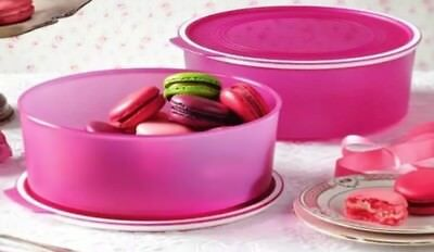 ❤️Tupperware NEW Cookie Canister 2 x PINK New style Instant Seal ❤️
