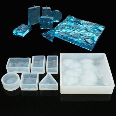 7pcs/set 3D Water Ripple Silicone Mold Mould Epoxy Jewelry Beads Making DIY Q4K4