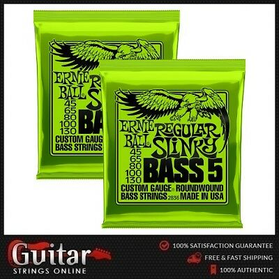 2 Sets Ernie Ball 2836 Regular Slinky 5 String Bass Guitar Strings 45-130 New
