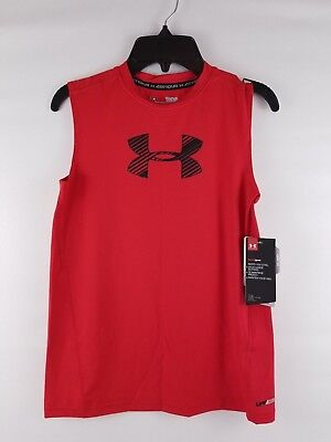 Under Armour Boys' HeatGear Armour Sleeveless Fitted Red Tank Top Shirt 1289956