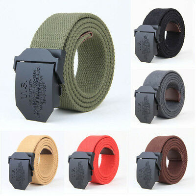 Adjustable Mens Canvas Military Waist Belt Combat Straps Tactical Rescue AU Post