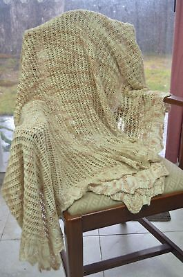 HANDKNITTED LACE THROW/BEDSPREAD 100% COTTON, Varigated Natural/Beige