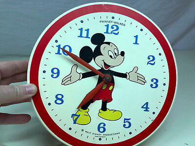 Old Vtg PHINNEY-WALKER Walt Disney Productions Wall Clock Mickey Mouse Germany