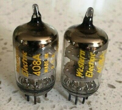 2 Strong Matched Western Electric Black Plate D Getter 408A Little Dot Tubes