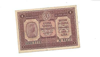 Italy 1918 Bank Note Paper Money Currency 1 Lire Wwi
