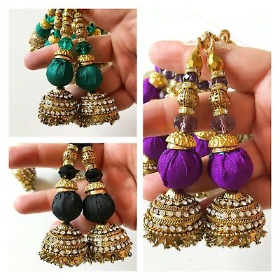 1 pair Latest Indian Bridal Golden with Colour Stone work rings Latkan Tassel