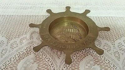 Vintage Brass Nautical Ships Wheel Ashtray/Change/Trinkets- Very Cool