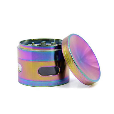 4 Piece Metal Alloy Tobacco Grinder Rainbow Color Herb Crusher Spice Hand Muller