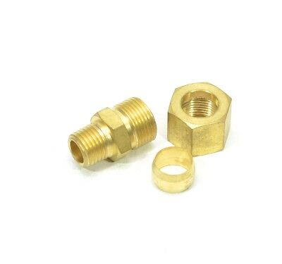 1/2 Tube OD x 1/4 Male NPT Compression Brass Fitting Gas Adapter Inline