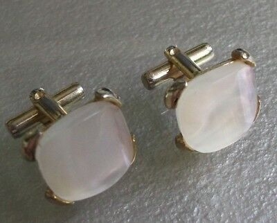 MENS CUFFLINKS CUFF LINKS VINTAGE RETRO CHUNKY PEARLY INSET 1960s 1970s MOD