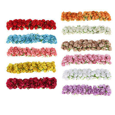 Pack 60pc Artificial Silk Camellia Flowers with Wire Stem for Wedding Decoration